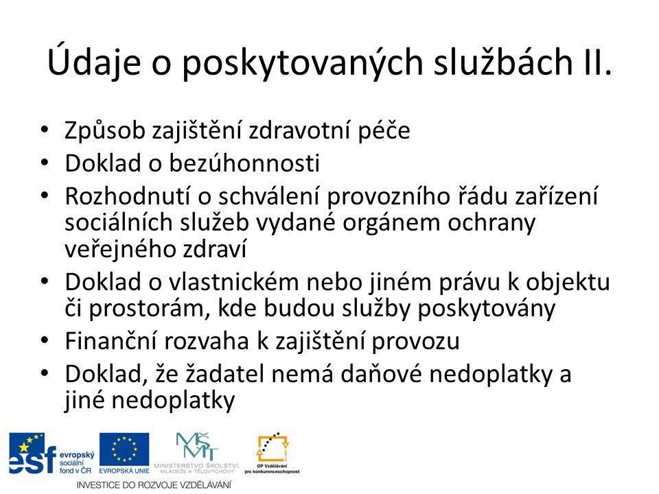 Údaje o poskytovaných službách II.