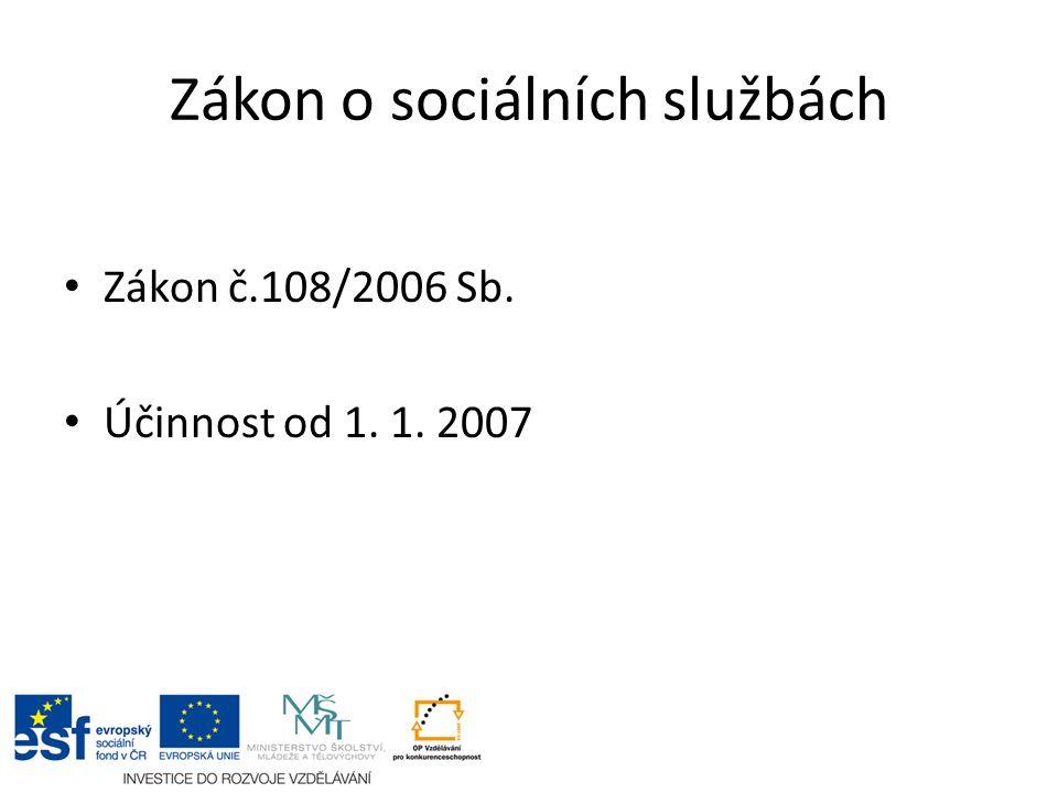 Zákon o sociálních službách Zákon č.108/2006 Sb. Účinnost od 1. 1. 2007