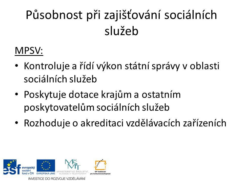 Působnost při zajišťování sociálních služeb MPSV: Kontroluje a řídí výkon státní správy v oblasti sociálních služeb Poskytuje dotace krajům a ostatním poskytovatelům sociálních služeb Rozhoduje o akreditaci vzdělávacích zařízeních