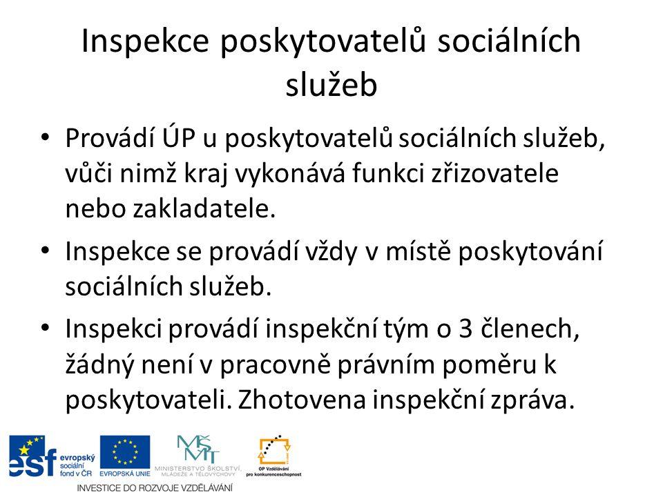 Inspekce poskytovatelů sociálních služeb Provádí ÚP u poskytovatelů sociálních služeb, vůči nimž kraj vykonává funkci zřizovatele nebo zakladatele.