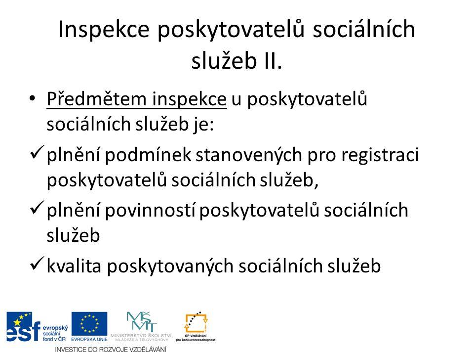 Inspekce poskytovatelů sociálních služeb II.