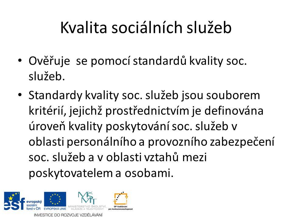 Kvalita sociálních služeb Ověřuje se pomocí standardů kvality soc.