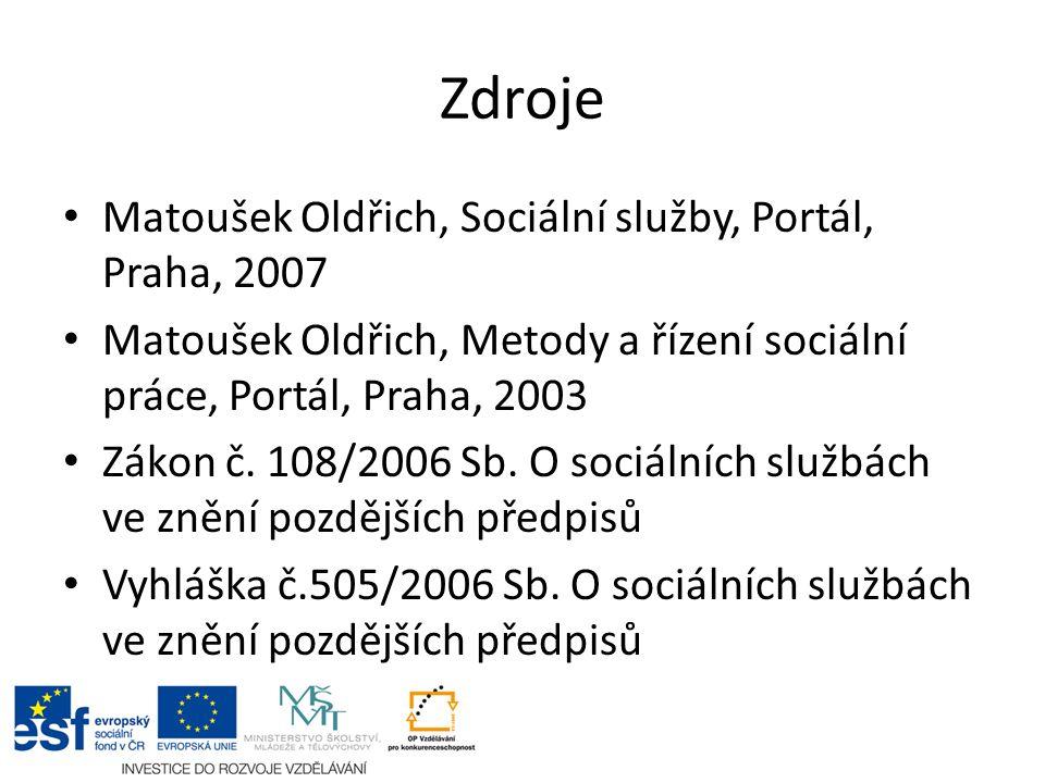Zdroje Matoušek Oldřich, Sociální služby, Portál, Praha, 2007 Matoušek Oldřich, Metody a řízení sociální práce, Portál, Praha, 2003 Zákon č.