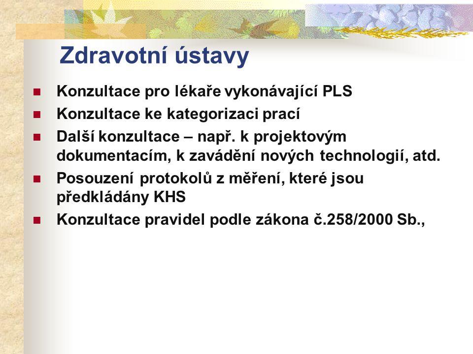 Zdravotní ústavy Konzultace pro lékaře vykonávající PLS Konzultace ke kategorizaci prací Další konzultace – např.