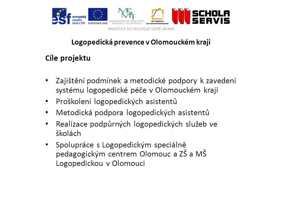 Logopedická prevence v Olomouckém kraji Cíle projektu Zajištění podmínek a metodické podpory k zavedení systému logopedické péče v Olomouckém kraji Pr