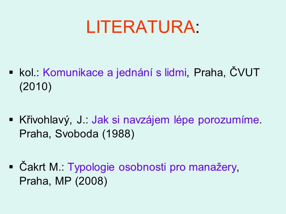 LITERATURA:  kol.: Komunikace a jednání s lidmi, Praha, ČVUT (2010)  Křivohlavý, J.: Jak si navzájem lépe porozumíme. Praha, Svoboda (1988)  Čakrt