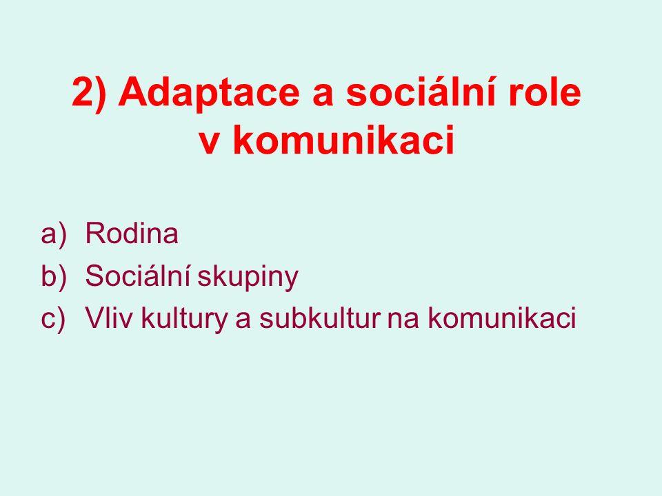 2) Adaptace a sociální role v komunikaci a)Rodina b)Sociální skupiny c)Vliv kultury a subkultur na komunikaci