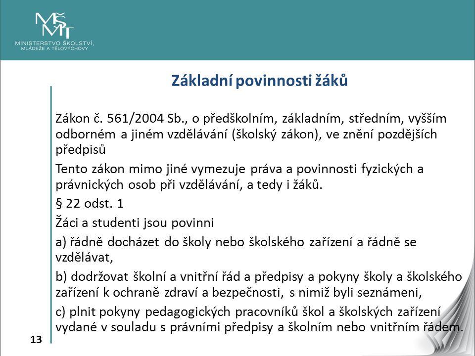 13 Základní povinnosti žáků Zákon č.