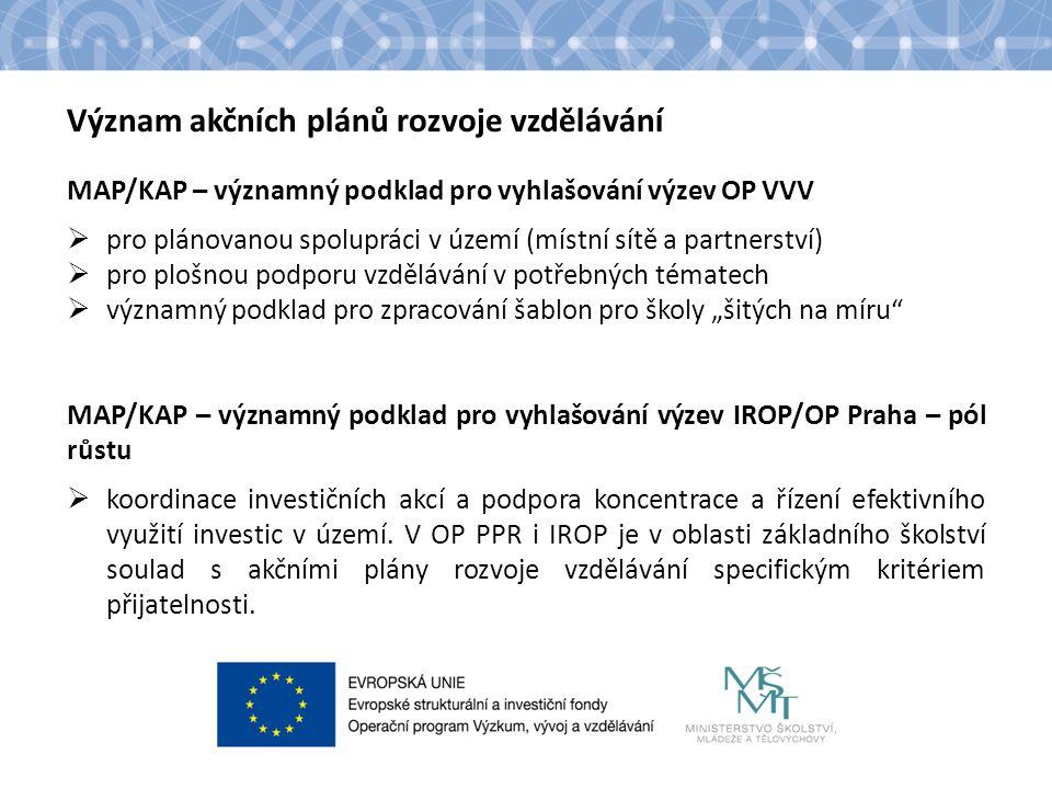 Název kapitoly Název podkapitoly Text Význam akčních plánů rozvoje vzdělávání MAP/KAP – významný podklad pro vyhlašování výzev OP VVV  pro plánovanou