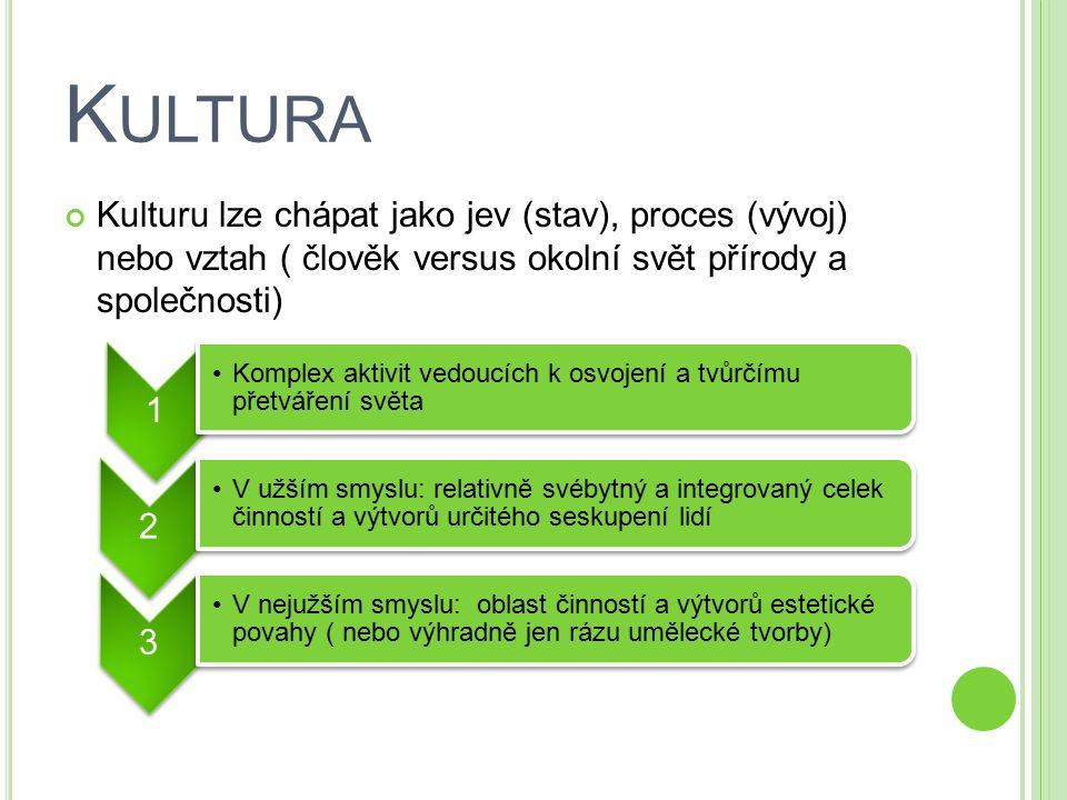 Kulturu lze chápat jako jev (stav), proces (vývoj) nebo vztah ( člověk versus okolní svět přírody a společnosti) 1 Komplex aktivit vedoucích k osvojen