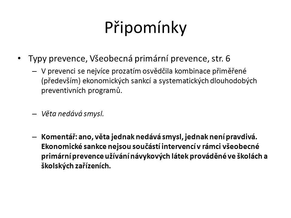 Připomínky Typy prevence, Všeobecná primární prevence, str.