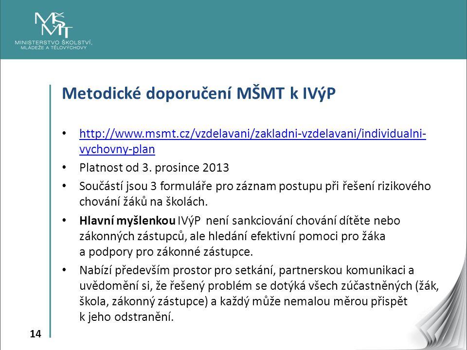 14 Metodické doporučení MŠMT k IVýP http://www.msmt.cz/vzdelavani/zakladni-vzdelavani/individualni- vychovny-plan http://www.msmt.cz/vzdelavani/zakladni-vzdelavani/individualni- vychovny-plan Platnost od 3.
