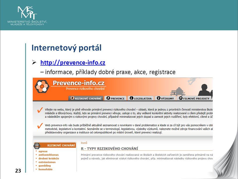 23 Internetový portál  http://prevence-info.cz http://prevence-info.cz – informace, příklady dobré praxe, akce, registrace