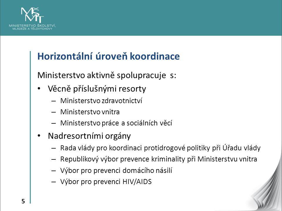 5 Horizontální úroveň koordinace Ministerstvo aktivně spolupracuje s: Věcně příslušnými resorty – Ministerstvo zdravotnictví – Ministerstvo vnitra – M