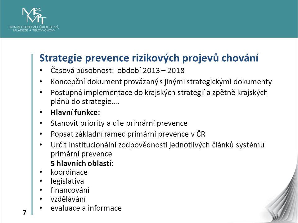 7 Strategie prevence rizikových projevů chování Časová působnost: období 2013 – 2018 Koncepční dokument provázaný s jinými strategickými dokumenty Pos
