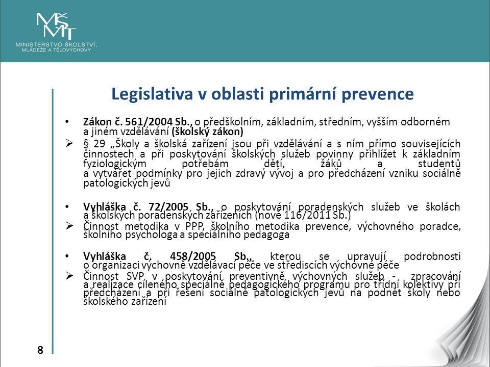 8 Legislativa v oblasti primární prevence Zákon č. 561/2004 Sb., o předškolním, základním, středním, vyšším odborném a jiném vzdělávání (školský zákon