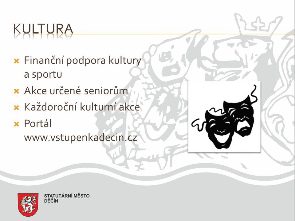  Finanční podpora kultury a sportu  Akce určené seniorům  Každoroční kulturní akce  Portál www.vstupenkadecin.cz