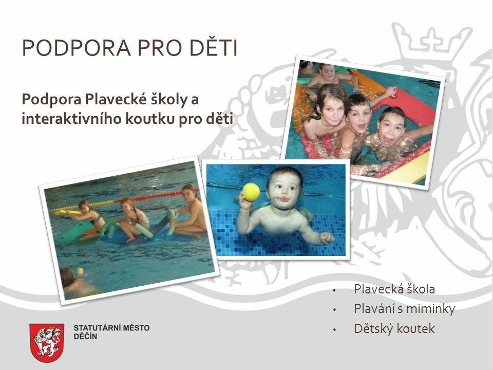PODPORA PRO DĚTI Podpora Plavecké školy a interaktivního koutku pro děti Plavecká škola Plavání s miminky Dětský koutek