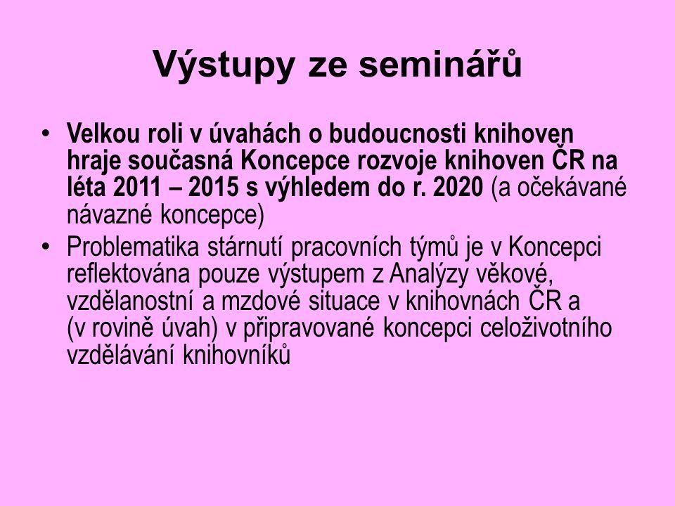 Výstupy ze seminářů Velkou roli v úvahách o budoucnosti knihoven hraje současná Koncepce rozvoje knihoven ČR na léta 2011 – 2015 s výhledem do r.