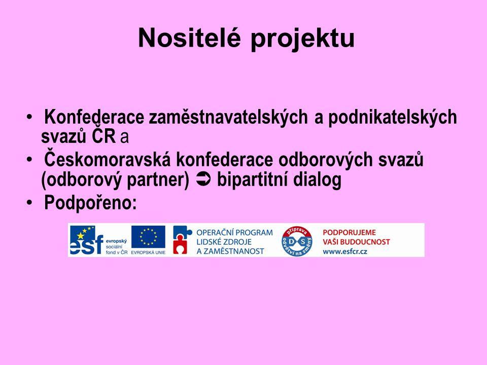 Nositelé projektu Konfederace zaměstnavatelských a podnikatelských svazů ČR a Českomoravská konfederace odborových svazů (odborový partner)  bipartitní dialog Podpořeno: