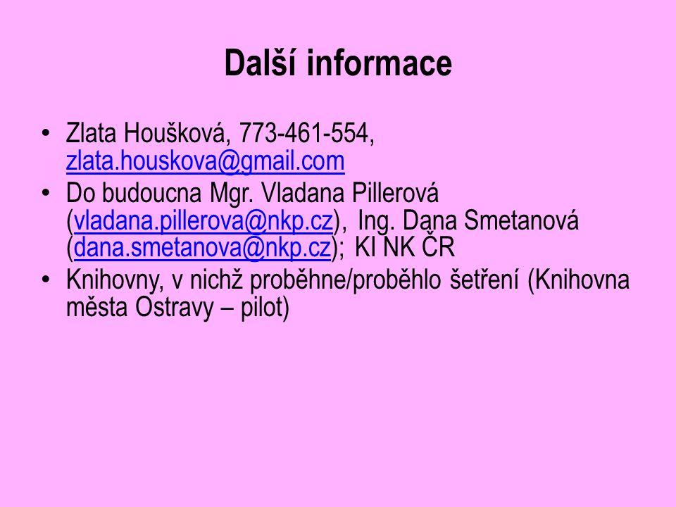 Další informace Zlata Houšková, 773-461-554, zlata.houskova@gmail.com zlata.houskova@gmail.com Do budoucna Mgr. Vladana Pillerová (vladana.pillerova@n