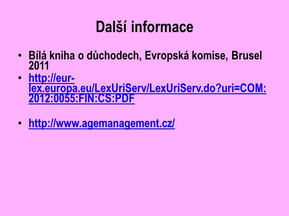 Další informace Bílá kniha o důchodech, Evropská komise, Brusel 2011 http://eur- lex.europa.eu/LexUriServ/LexUriServ.do uri=COM: 2012:0055:FIN:CS:PDF http://eur- lex.europa.eu/LexUriServ/LexUriServ.do uri=COM: 2012:0055:FIN:CS:PDF http://www.agemanagement.cz/