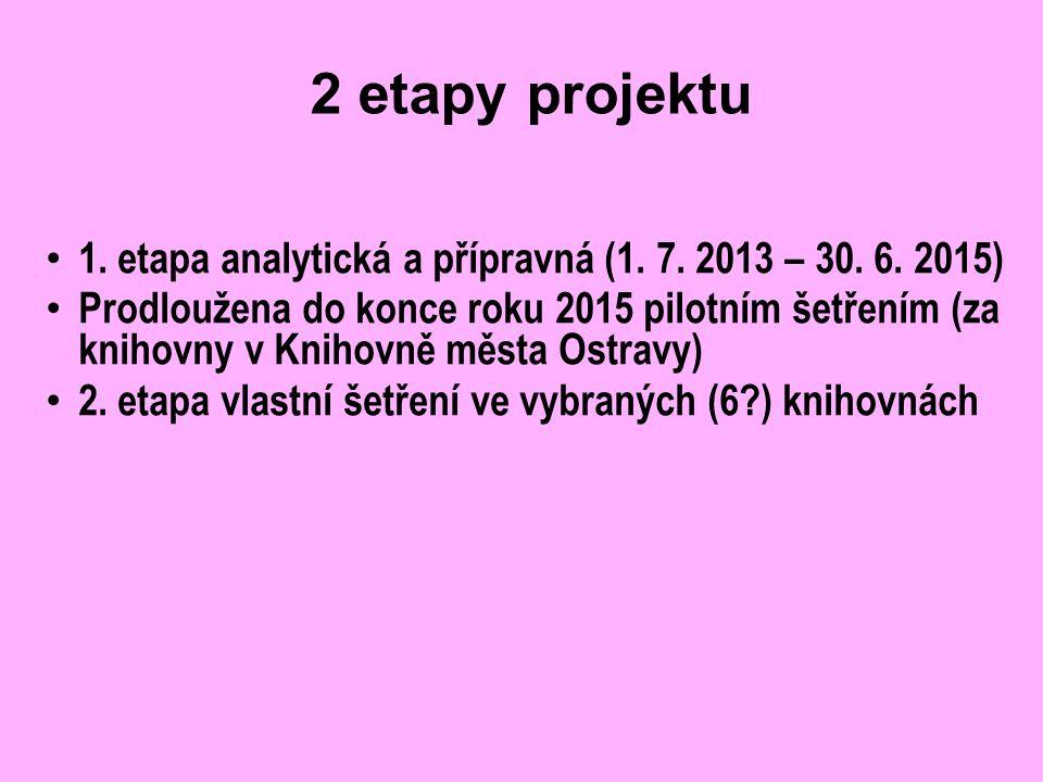 2 etapy projektu 1. etapa analytická a přípravná (1. 7. 2013 – 30. 6. 2015) Prodloužena do konce roku 2015 pilotním šetřením (za knihovny v Knihovně m