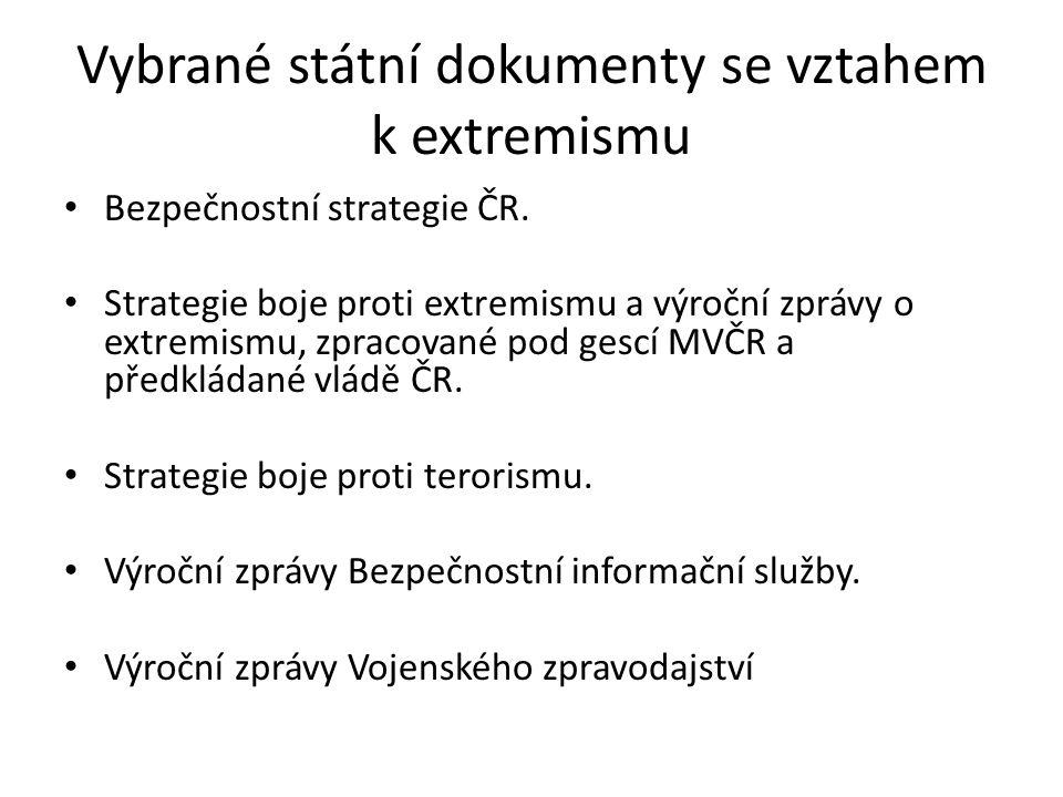 Vybrané státní dokumenty se vztahem k extremismu Bezpečnostní strategie ČR. Strategie boje proti extremismu a výroční zprávy o extremismu, zpracované