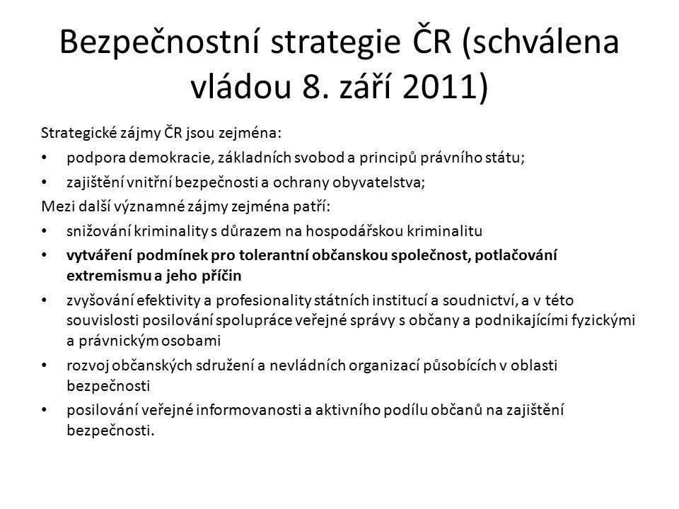 Bezpečnostní strategie ČR (schválena vládou 8. září 2011) Strategické zájmy ČR jsou zejména: podpora demokracie, základních svobod a principů právního