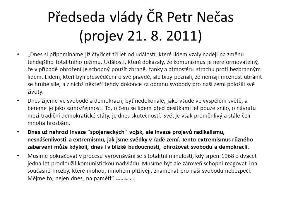 Předseda vlády ČR Petr Nečas (projev 21. 8.