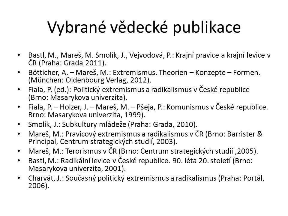 Vybrané vědecké publikace Bastl, M., Mareš, M. Smolík, J., Vejvodová, P.: Krajní pravice a krajní levice v ČR (Praha: Grada 2011). Bötticher, A. – Mar