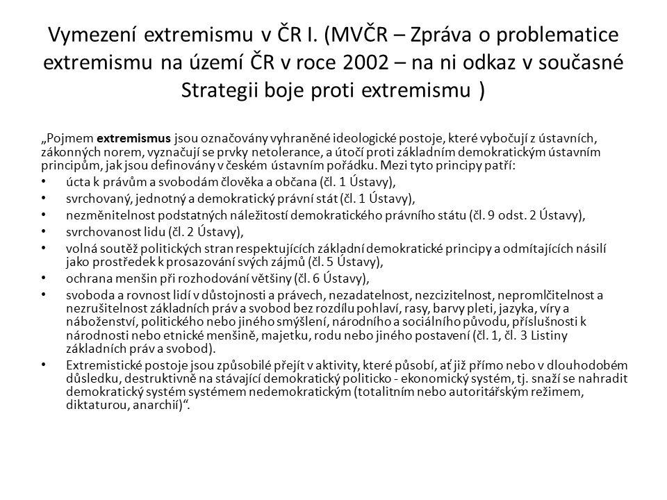 Vymezení extremismu v ČR I. (MVČR – Zpráva o problematice extremismu na území ČR v roce 2002 – na ni odkaz v současné Strategii boje proti extremismu