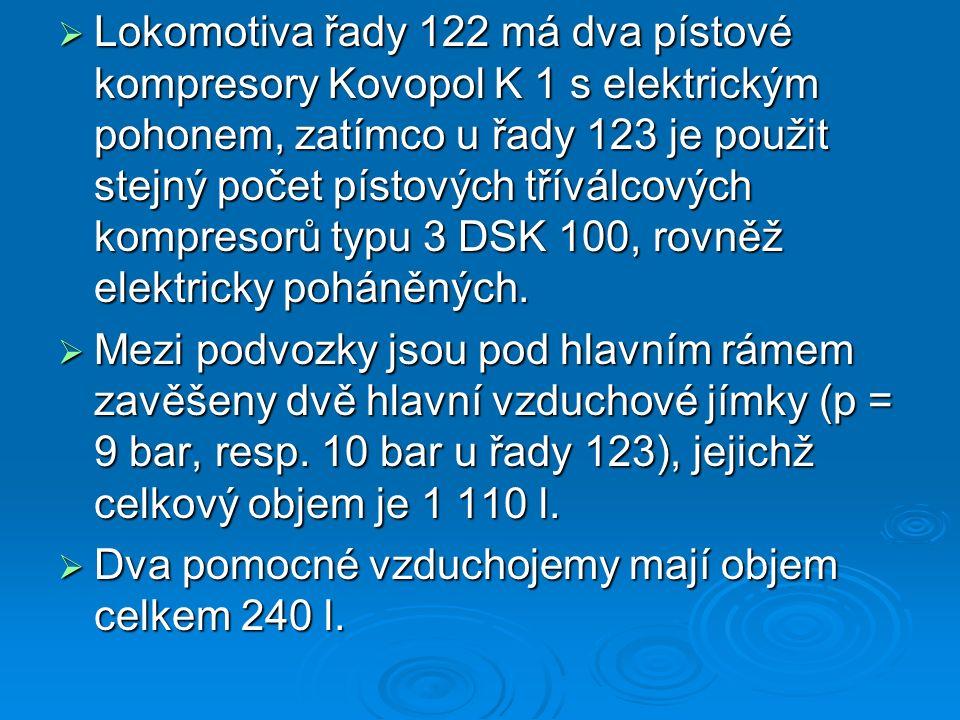  Lokomotiva řady 122 má dva pístové kompresory Kovopol K 1 s elektrickým pohonem, zatímco u řady 123 je použit stejný počet pístových tříválcových ko