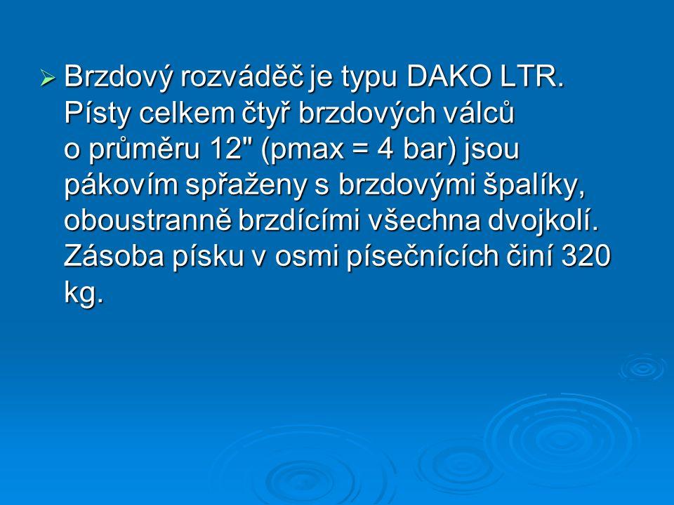  Brzdový rozváděč je typu DAKO LTR. Písty celkem čtyř brzdových válců o průměru 12