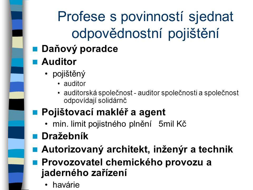 Profese s povinností sjednat odpovědnostní pojištění Daňový poradce Auditor pojištěný auditor auditorská společnost - auditor společnosti a společnost odpovídají solidárnč Pojištovací makléř a agent min.