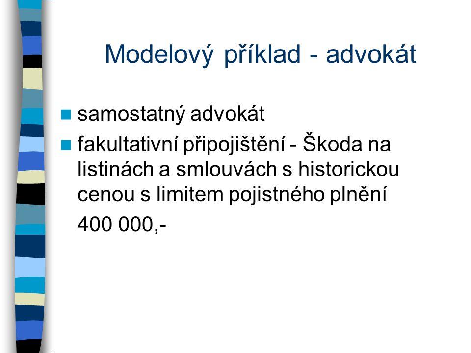 Modelový příklad - advokát samostatný advokát fakultativní připojištění - Škoda na listinách a smlouvách s historickou cenou s limitem pojistného plnění 400 000,-