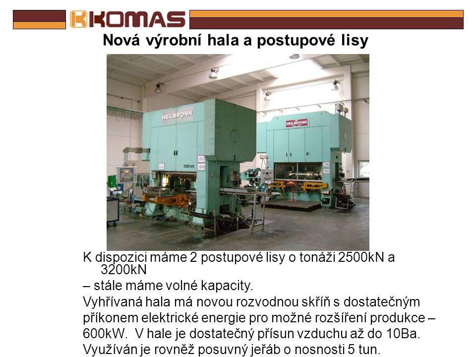 Nová výrobní hala K dispozici je dostatek prostoru pro umístění dalšího strojního vybavení.