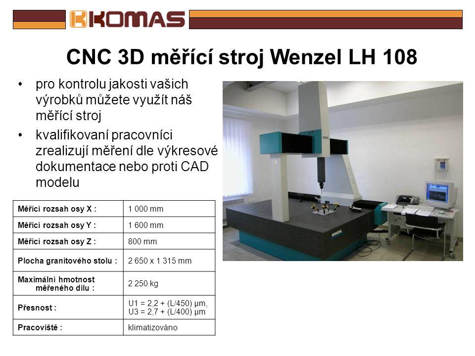 CNC obráběcí centrum SPEED 1000 Stůl : Upínací plocha stolu :1300 x 670 mm Pracovní rozsah : X – osa :1016 mm Y – osa :610 mm Z – osa :720 mm Posuv : Pracovní posuv (X,Y,Z) :1 - 15 000 mm.min Rychloposuv (X,Y,Z) :40 m.min Přesnost (VDI/DGQ 3441) : Odměřování :přímé Přesnost stavění souřadnic :0,01 mm Přesnost najetí :0,005 mm Vřeteno : Max.otáčky vřetena :12 000 min Změna otáček :plynule Zásobník nástrojů : Počet míst v zásobníku :30 Max.