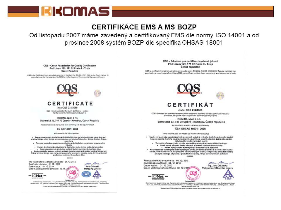 CERTIFIKACE QMS V dubnu 2012 jsme recertifikovali QMS dle revidované normy ISO 9001 a technické specifikace ISO/TS 16949