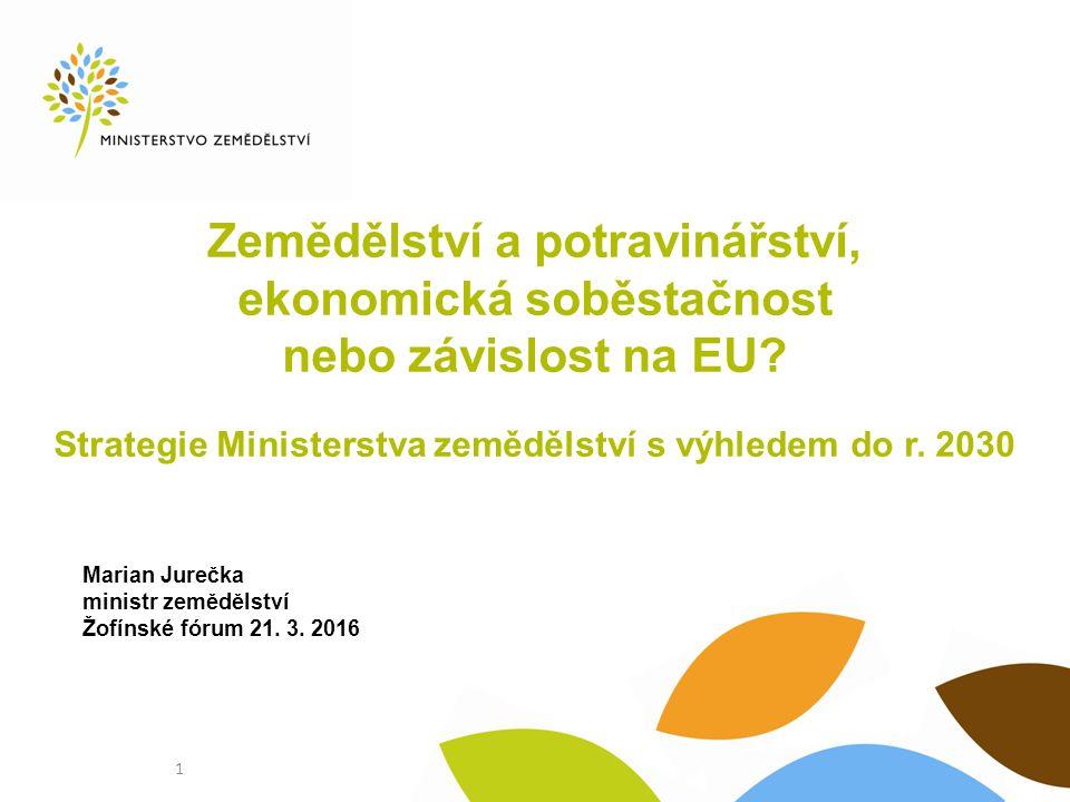 Strategie MZe s výhledem do roku 2030 Konkurenceschopnost a udržitelnost českého zemědělství, potravinářství, lesnictví a vodního hospodářství.