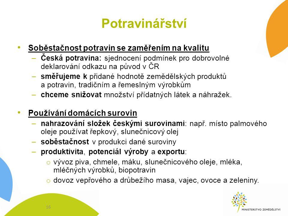 Potravinářství Soběstačnost potravin se zaměřením na kvalitu –Česká potravina: sjednocení podmínek pro dobrovolné deklarování odkazu na původ v ČR –sm