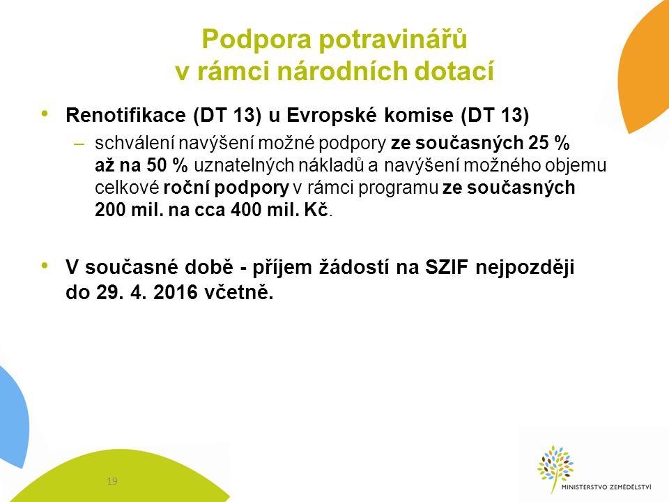 Podpora potravinářů v rámci národních dotací Renotifikace (DT 13) u Evropské komise (DT 13) –schválení navýšení možné podpory ze současných 25 % až na