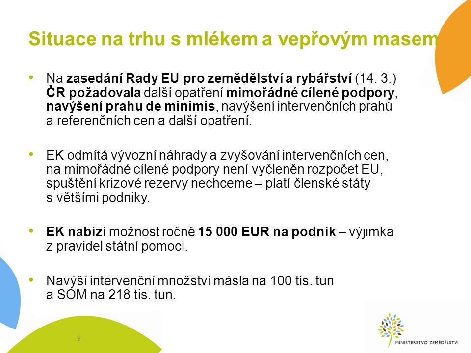 Situace na trhu s mlékem a vepřovým masem Na zasedání Rady EU pro zemědělství a rybářství (14. 3.) ČR požadovala další opatření mimořádné cílené podpo