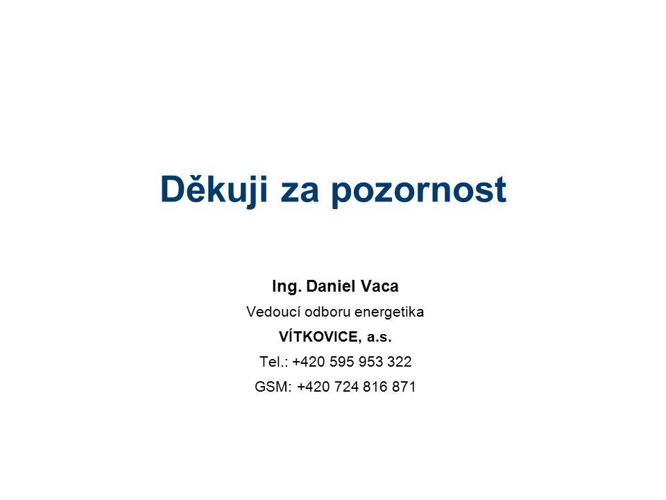 Děkuji za pozornost Ing. Daniel Vaca Vedoucí odboru energetika VÍTKOVICE, a.s. Tel.: +420 595 953 322 GSM: +420 724 816 871