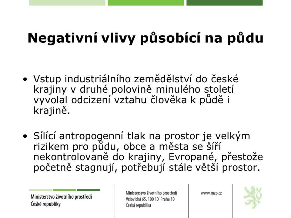 Negativní vlivy působící na půdu Vstup industriálního zemědělství do české krajiny v druhé polovině minulého století vyvolal odcizení vztahu člověka k půdě i krajině.