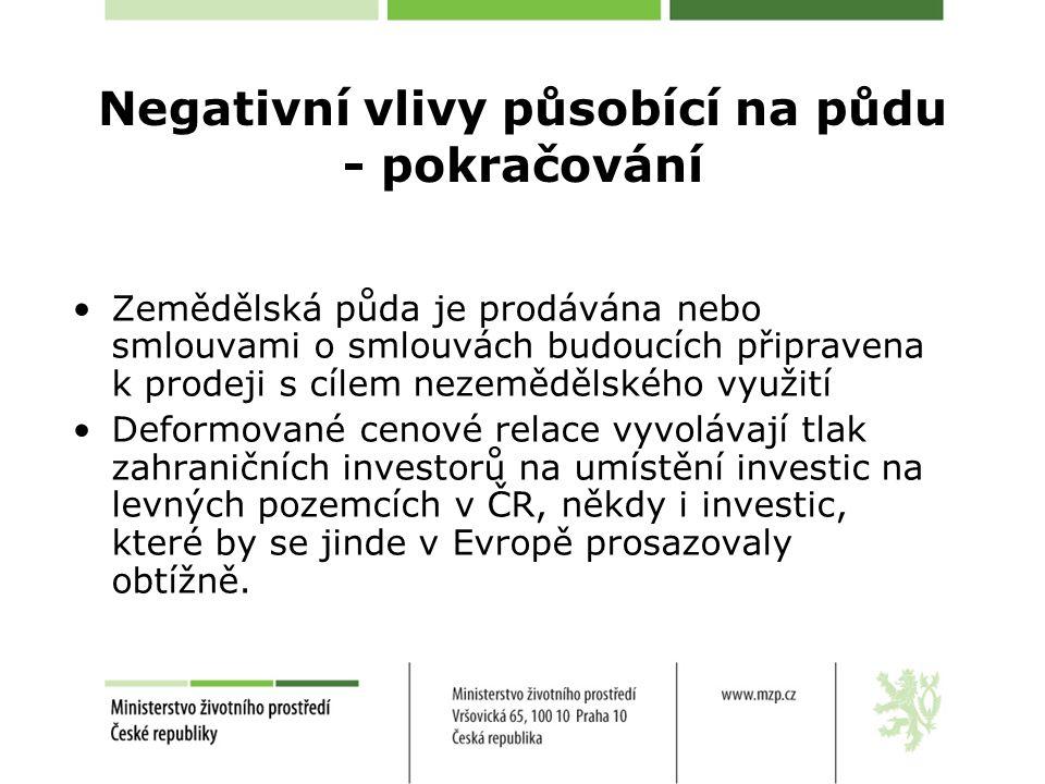 Negativní vlivy působící na půdu - pokračování Zemědělská půda je prodávána nebo smlouvami o smlouvách budoucích připravena k prodeji s cílem nezemědělského využití Deformované cenové relace vyvolávají tlak zahraničních investorů na umístění investic na levných pozemcích v ČR, někdy i investic, které by se jinde v Evropě prosazovaly obtížně.