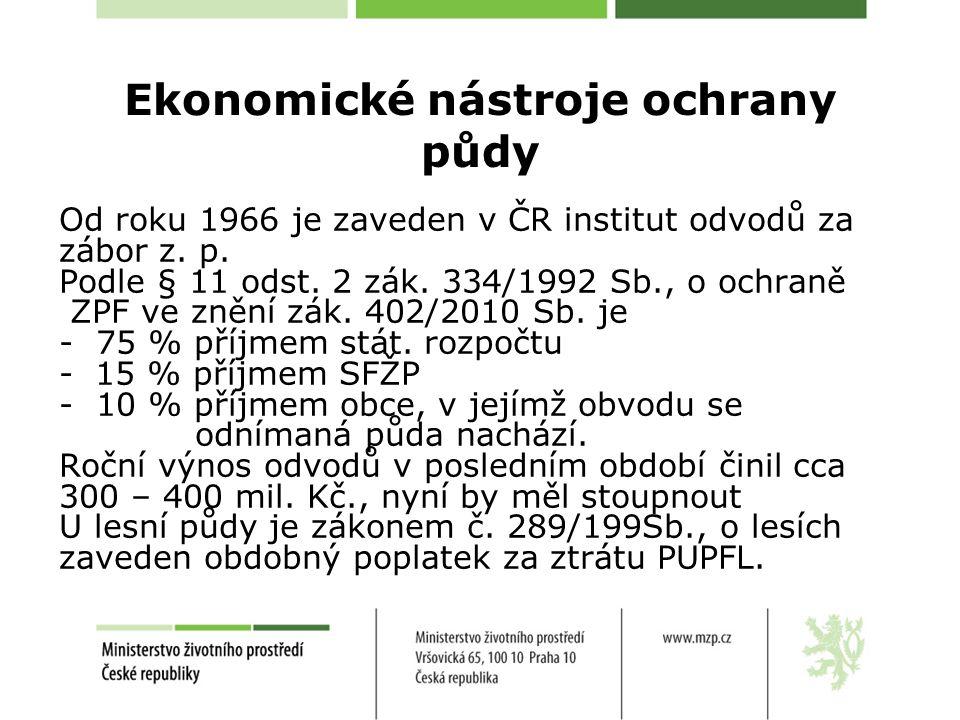 Ekonomické nástroje ochrany půdy Od roku 1966 je zaveden v ČR institut odvodů za zábor z.