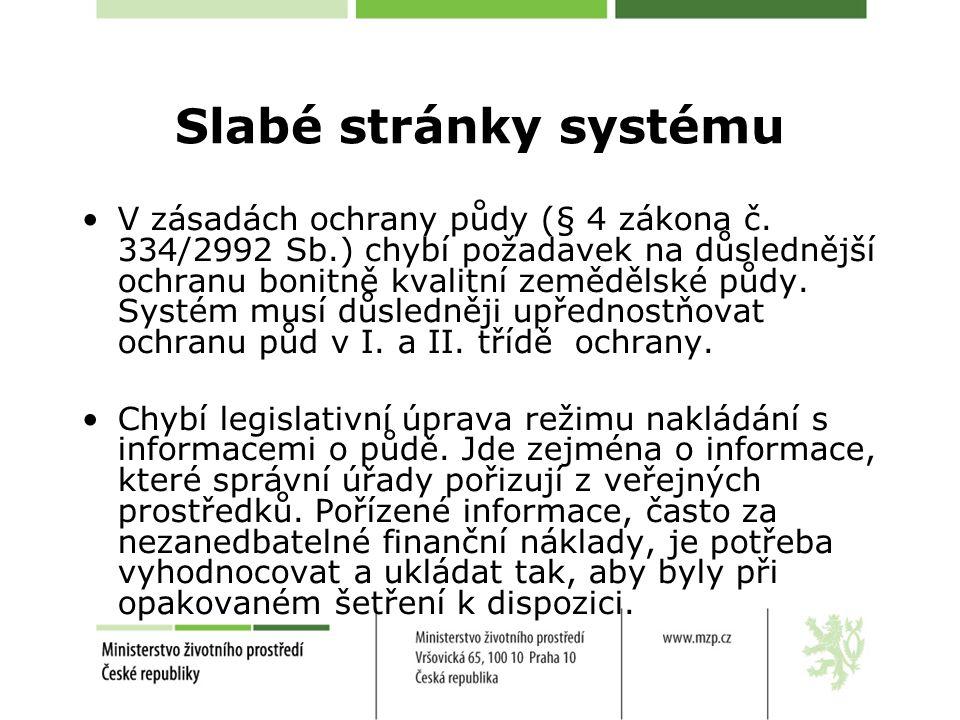 Slabé stránky systému V zásadách ochrany půdy (§ 4 zákona č.