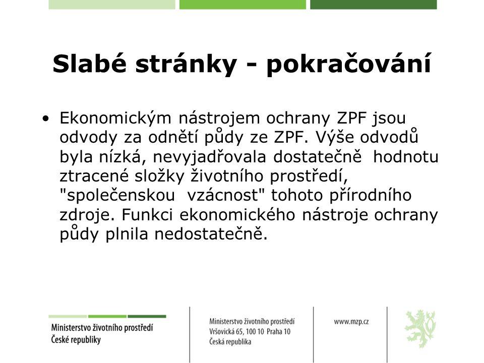 Slabé stránky - pokračování Ekonomickým nástrojem ochrany ZPF jsou odvody za odnětí půdy ze ZPF.