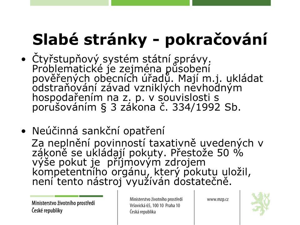 Slabé stránky - pokračování Čtyřstupňový systém státní správy.